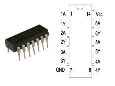 74HC05 DIP14 TEX.