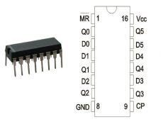 74HC174 DIP TEX.SGS.